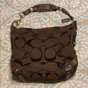 Coach Chocolate Brown Jacquard Fabric Hobo Bag
